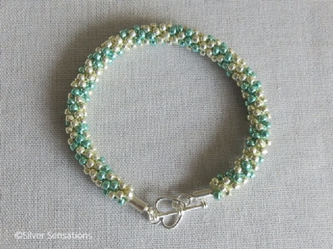 Shiny Sea Green & Light Gold Kumihimo Seed Bead Bracelet